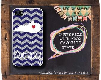 Personalized iPhone Case, Kentucky Glitter iPhone Case, Not Real Glitter, iPhone 4, iPhone 4s, iPhone 5, iPhone 5s, iPhone 5c, iPhone 6