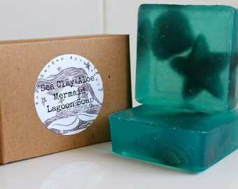 Sea Clay +Aloe Mermaid Lagoon Soap>Sea Clay>Aloe>Olive Oil>Sparkly Turquoise Soap>Part Favor Gift Box Soap