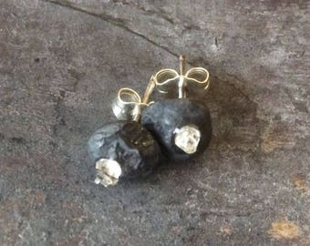 Herkimer pebble studs//oxidized silver