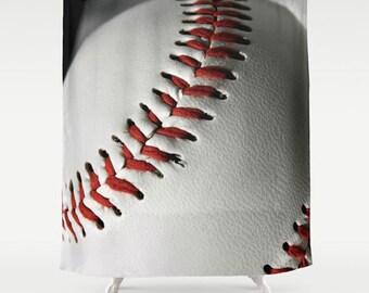 Baseball Shower Curtain-Sports Bathroom Decor-Boys Bathroom Decor-Masculine Shower Curtain-71x74 Inch Black-Red-White-Athletic Bath Decor