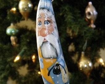 "Hand Painted 7-1/2"" Blue Primitive - Folk Art - Santa Gourd Ornament - Sheep - Feather Tree - Original Design - Collectible - Home Decor"
