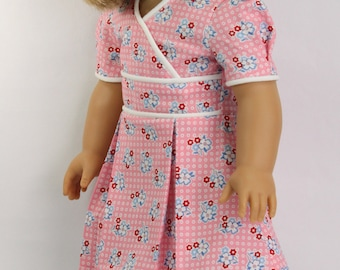 Vintage Faux Wrap Dress with Pleats and Piping for 18 inch Dolls