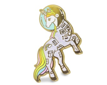 Unicorn enamel pin, Gold glitter lapel pin, astronaut pin, space lover, unicorn space suit, space helmet pin, unicorn lapel pin, rainbow pin