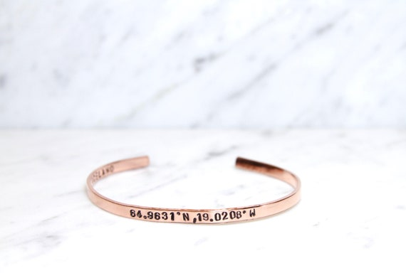 Coordinates Jewelry | Coordinate Bracelet | Longitude Latitude Bracelet | GPS Coordinate Bracelet | Skinny Cuff Bangle | World Traveler Gift
