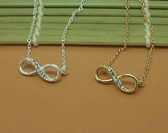 Dainty CZ Infinity Necklace in Gold/Silver NB633