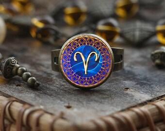 Bague du zodiaque Bélier, Bélier, les bijoux du zodiaque Bélier, Bélier constellation bague, anneau de signe du zodiaque Bélier