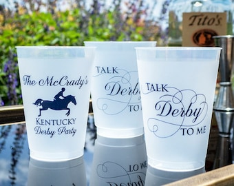 Derby Party Cups, Talk Derby To Me, Custom Plastic Cups, Printed Party Cups, Personalized Shatterproof Cups, Frost Flex Cups, Wedding Cups