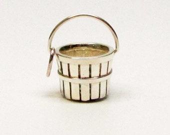 APPLE BASKET, Orchard Basket, Apple Orchard, Baskets, Silver Basket, Basket Charms, Basket Bracelet, Basket Pendant, Gift for Women, Charms