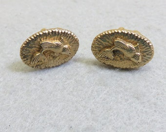 1960s Jumping Trout Cuff Links Set, Golden Trout Vintage Cufflinks