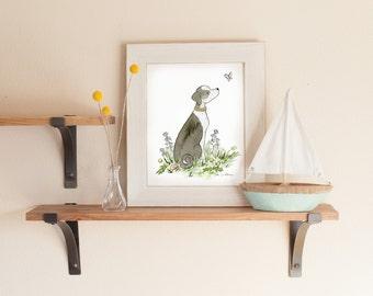 Watercolor Dog Art, Mutt Art, Dog Nursery Print, Grayhound Mix, Hound Mix, Husky Mix, Nursery Art, Children's Wall Art, Nursery Decor, Puppy