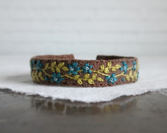 Boho Cuff Bracelet - Dark Teal and Lime Green Floral Embroidery on Brown Linen Bracelet