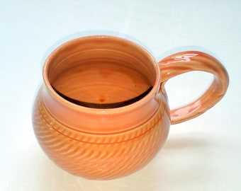 Orange Pottery Mug or Cup - Wheel Thrown Pottery - Tangerine Cup - Chattered Texturing