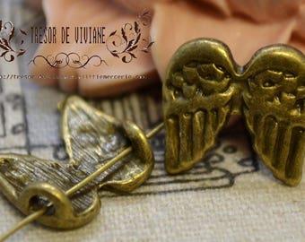 Set of 10 QDW159 pendants in bronze wing