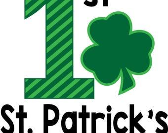 My 1st St Patricks Day with leprechaun Hat, T-shirt & /or Bib. Babys. Girl Boy outfit. Gift Set leprechaun St Paddy Irish. First Celebration