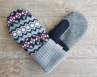 Best Wool Sweater Mittens // Womens Sweater Mittens // Fleece Lined mittens // Blue Red Gray