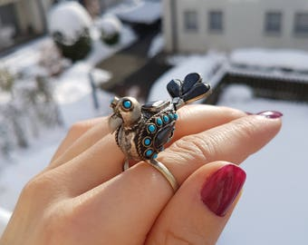 Beautiful vintage kuchi bird ring