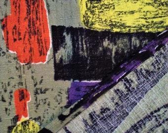 2 vintage abstract amazing mid century modern barkcloth cotton fabric drapery curtains panels, brutalist Eames era atomic