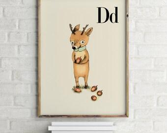 Deer print, nursery animal print, woodland nursery, alphabet letters, abc letters, alphabet print, animals prints for nursery