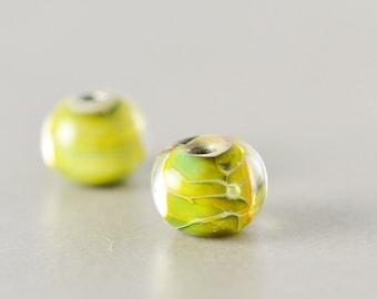 Yellow Green Beads, Lampwork Beads, Fall 10mm Glass Beads, Two, Set