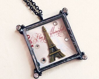 Delphine - Eiffel tower charm necklace - vintage Inspired necklace - Paris jewelry