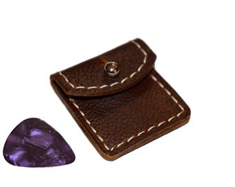 Small Leather Guitar Pick Case, Guitar Pick Holder, Pick Holder, Leather Pick Case, Pick Holder Keychain, Oil Tanned Leather Pick Case