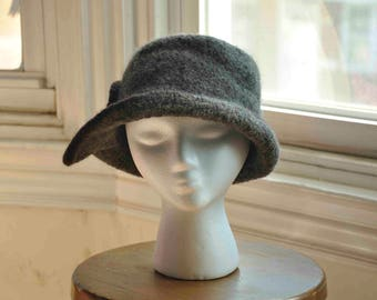 Felted women's wool hand-knit hat greyish brown and chocolate brown 1930s vintage style--Herringbone