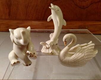 Lenox Fine China Elephant, Dolphin and Swan