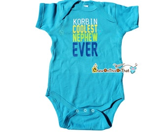 Coolest Nephew Ever Personalized Blue Statement Onesie, Bodysuit, Top, Shirt, Photo Prop Gift from Aunt or Uncle
