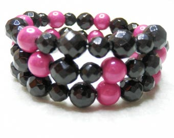Onyx and magical pink beaded bracelet
