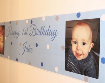 Birthday Banner, Personalised Birthday Banner, Party Banner, Polka dots, party, 1st birthday banner, christening banner, Happy Birthday m