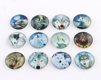 10 Wolf Mixed Design Round Glass Cabochons 12mm (056)