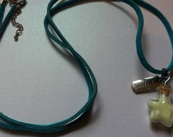 Turqoise, genuine leather, glow in the dark, starbottle necklace. NAMASTE. Xtra long !!