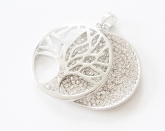 Tree and rhinestones on silver plated double pendant