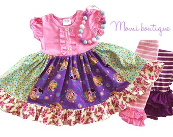 Rapunzell dress, Disney clothing, Pink Momi boutique custom