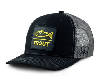 Fly Fishing Hat Modern Trout Snap Back, Mesh Black/Grey Trucker
