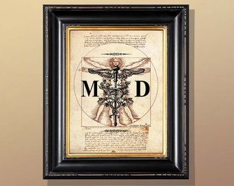 "Fine Art Print - ""Vintage Medical Doctor - Vitruvian Man"" - 8.5""x11"", Giclee print, Medical print, Doctor Gift, Physician gift"