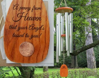 A Penny From Heaven Personalized Wind Chimes - Custom Wind Chimes - Engraved Chimes - Guardian Angel, Wind Chimes, Angel Gift, Sympathy Gift
