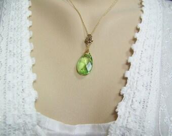 Peridot Teardrop Necklace, Peridot Briolette, Swarovski Peridot, Peridot Necklace, August Birthstone, Faceted Peridot, Green Crystal