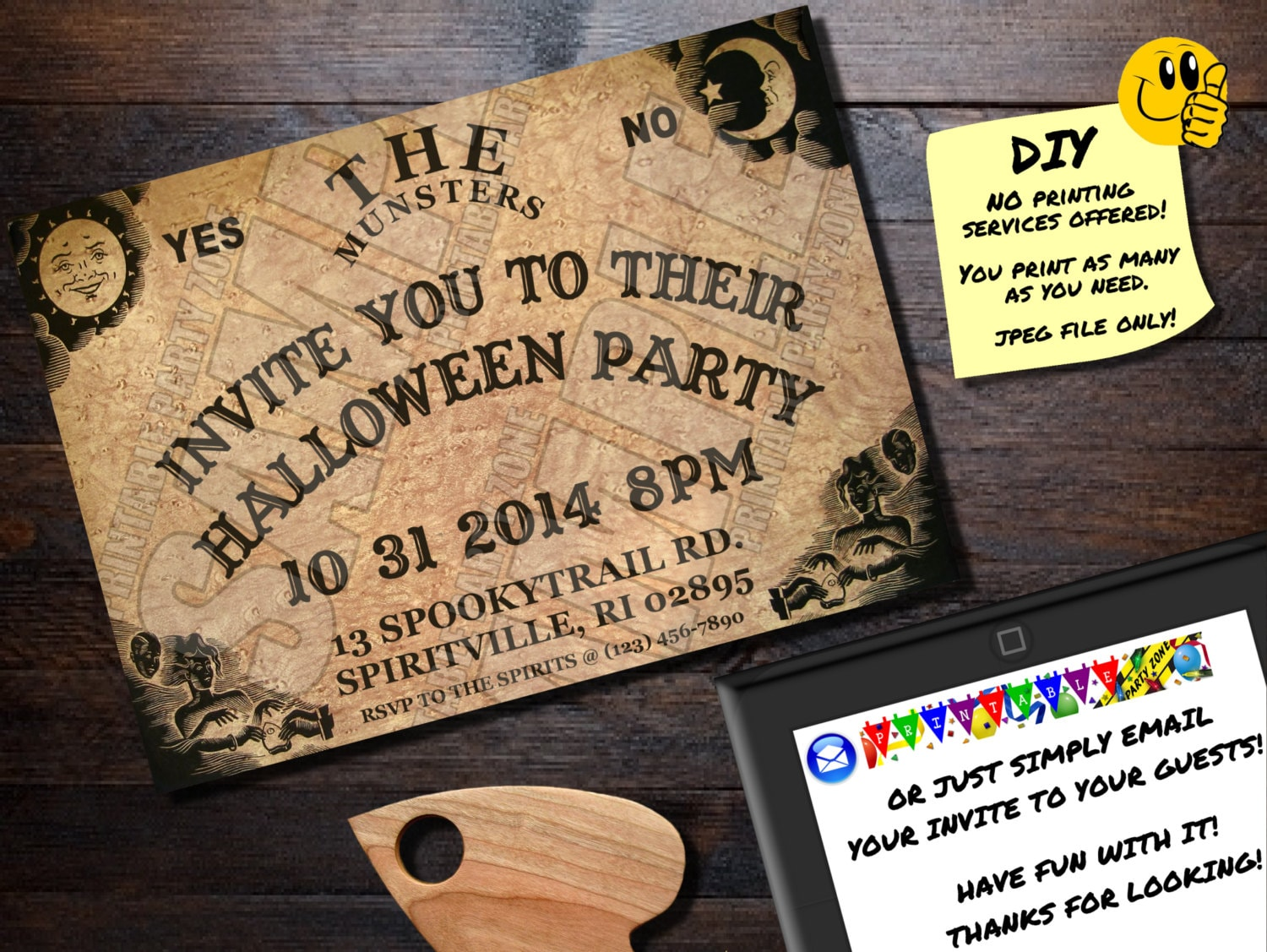 HALLOWEEN INVITATION OUIJA Board Printable Invite. Emailable