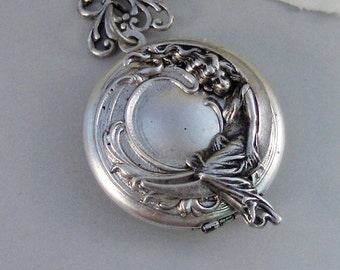 Moon Goddess,Moon Necklace,Goddess Necklace,Crescent Moon,Moon Jewelry,Goddess Jewelry,Moon Locket,Goddess Locket,Girl in Moon,valleygirl