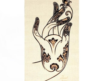 Wall Hanging Batik Tapestry - Buddha Lotus Mudra Hand gesture, Acrylic silkscreen, Symbol of Buddha-Nature,Enlightenment
