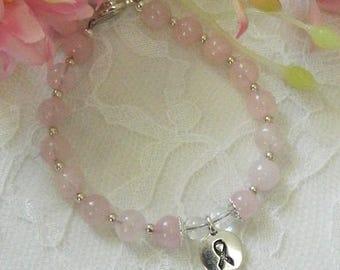 CLEARANCE - Breast Cancer bracelet,Breast Cancer Charm bracelet,Rose Quartz bracelet,Rose Quartz jewelry,Breast Cancer Gemstone bracelet