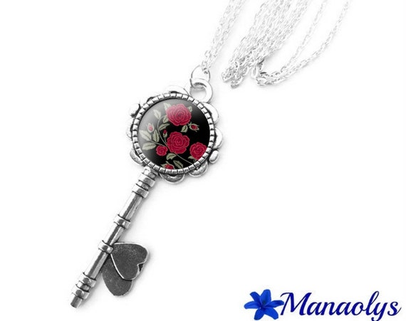 Necklace silver key, glass cabochon, red roses, flowers 376