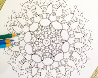 "Mandala ""Rabbithole"" - Hand Drawn Adult Coloring Page Print"