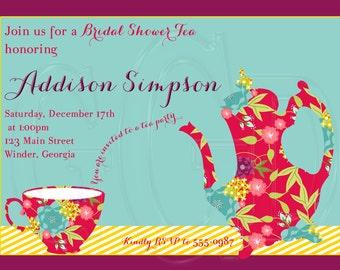 Tea Party Invitation, tea party invite, tea party shower invite, tea party bridal shower, tea party birthday, tea party theme -Digital File
