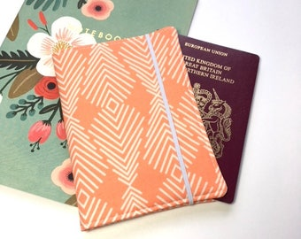 Passport Cover, Travel Organizer, Travel Wallet, Passport Holder, Passport Wallet, Gift for Traveler - Plumage in Apricot