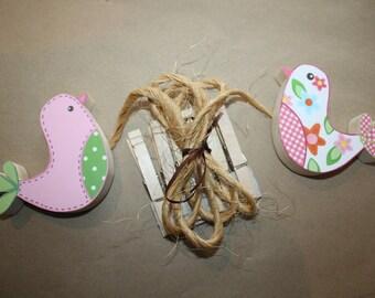 2 Birdies Wooden Girls Wall ART DISPLAY CLIPS for Kids Bedroom Baby Nursery Playroom Ac0075