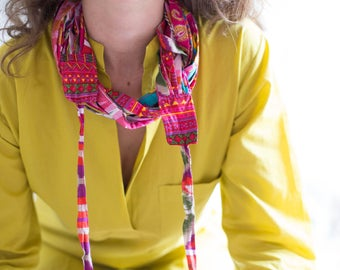 Pink Scarf Necklace, Neck Scarf, Cowl Neck Scarf, Womens Cotton Scarf, Long Scarf Wrap, Hippie Neck Scarf, Boho Scarf Necklace, Gift For Her