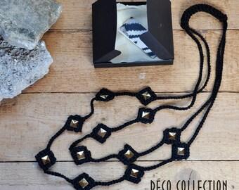 Collana due fili in cotone, collana doppia, collana uncinetto, collana applicazioni a contrasto, fatta a mano in Italia