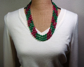 Genuine Earth Mined 729 Carats of Rich Green Emeralds and Red Ruby Gemstones 3 Strand Necklace